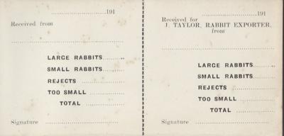 Book; a receipt book for J.Taylor Rabbit Exporter....