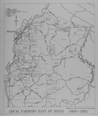 Map of Mataura Farm Locations [Showing Farmers East of the River, 1860-1882]; Department Survey and Land Information; 1990; MT2014.44.7