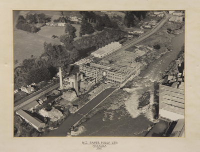 A black and white aerial photograph of the Mataura...