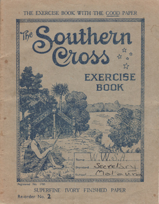 A school exercise book containing secretarial note...
