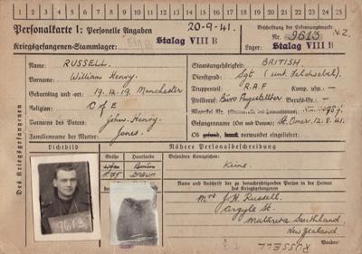 Prisoner of War Identity Record [Flight Sergeant, W.H. Russell]; 20.09.1941; MT2014.14.12