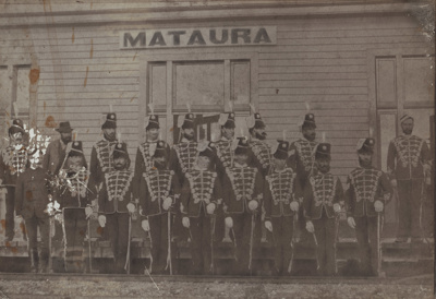 Photograph [Southland Hussars in Mataura]; unknown photographer; 1880-1888; MT2011.185.294