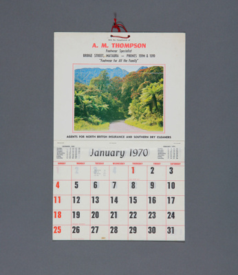 Calendar, A. M.Thompson, Mataura; unknown maker; 1970; MT2012.107.6