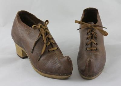 Clogs; a pair of handmade wooden dancing clogs wor...