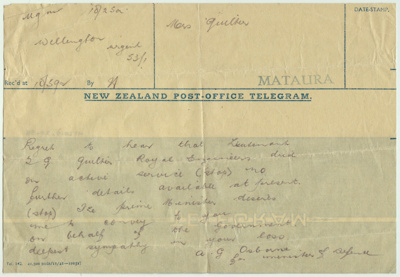 Telegram; from the New Zealand Government dated on...