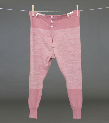 Long johns; pink Roslyn Mill woollen long johns wh...