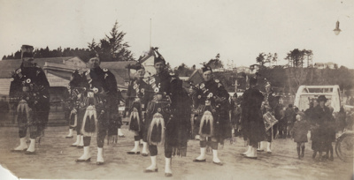 A black and white photograph of the Mataura Kiltie...