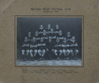 Photograph [Mataura Football Club, 2nd XV, 1940]; unknown photographer; 1940; MT2011.185.481