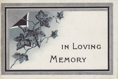 Card; a memorial card for Forrest Brown (Senior) w...