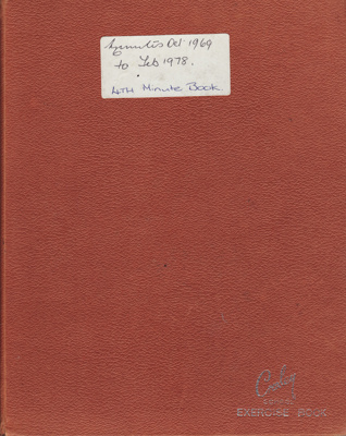 Minute Book, Red Cross, Mataura Sub-Branch; Club members (various); 1969-1978; MT2012.165.4