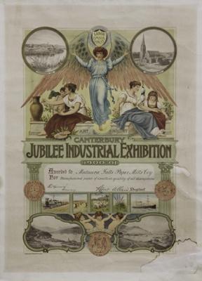 Award, Mataura Falls Paper Mills Limited, 1900; Canterbury Industrial Association, Christchurch Press Coy Ltd; 1900; MT2012.15.10