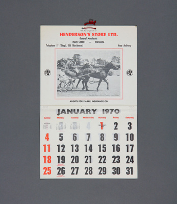 Calendar; a 1970 tear off type wall calendar for H...