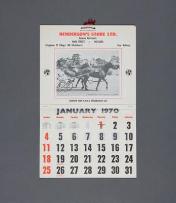 Calendar, Henderson's Store Ltd, Mataura; unknown maker; 1970; MT2013.10.1