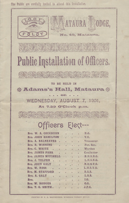 Programme; Public Installation of Officers, Mataur...