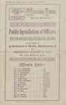 Programme, Installation of Officers, Mataura Masonic Lodge; Mataura Lodge No 40; 07.09.1901; MT2012.95.4