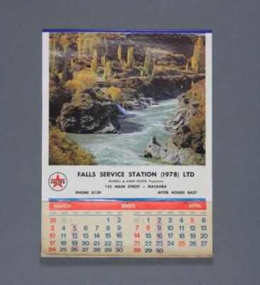 Calendar; a 1985 flip type wall calendar for Falls...