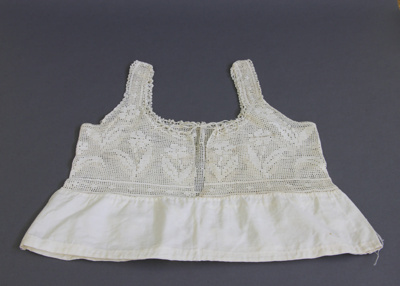 Camisole; a white cotton camisole crocheted top. T...