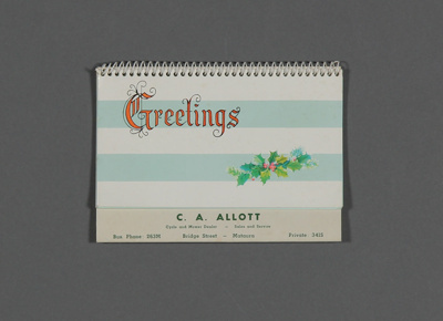 Calendar; a 1967 desk calendar for C. A. Allot, Cy...