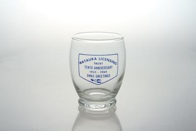 Glass tumbler, Souvenir, Mataura Licensing Trust; unknown maker; 1965; MT2012.38.2