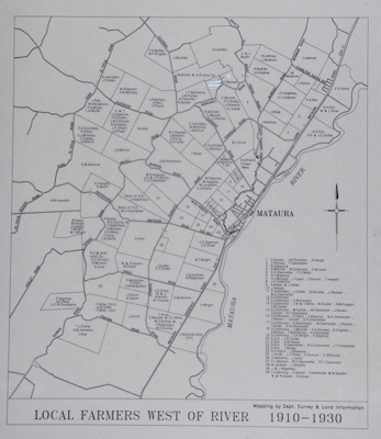 Map of Mataura Farm Locations [Showing Farmers West of the River, 1910-1930]; Department Survey and Land Information; 1990; MT2014.44.3