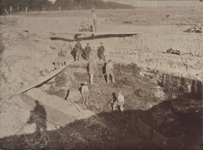 Photograph [C.P. Sleeman's open face coal pit near Mataura]; Blackley, Geo; 1890s; MT2011.185.72