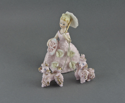 Figurine, Lady with two poodles; unknown maker; 1950-1960s; MT2012.49.2