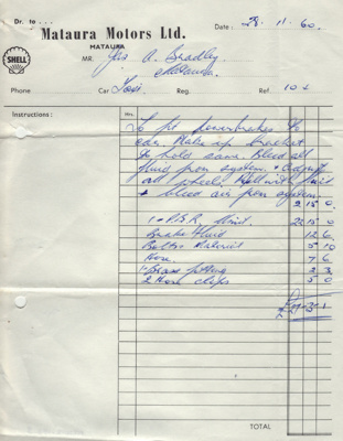 Invoice; from Mataura Motors Ltd to James Bradley ...