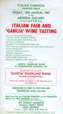 FLYER EXHIBITION ITALIAN FAIR WINE TASTING; MAR 1967; 196703BK