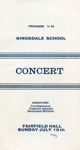 PROGRAMME KINGSDALE SCHOOL CONCERT CLASSICAL; JUL 1964; 196407FA