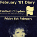 FAIRFIELD DIARY COVER FEBRUARY 1981 PETULA CLARK AND MIKE YARWOOD; FEB 1981; 198102FA
