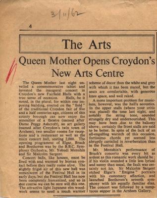 OPENING WRITE UP NEWSPAPER; NOV 1962; 196211BS
