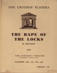 PROGRAMME CROYDON PLAYERS THE RAPE OF THE LOCKS MENANDER; NOV 1965; 196511BE