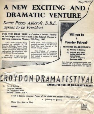 FLYER CROYDON DRAMA FESTIVAL PEGGY ASHCROFT; MAY 1967; 196705BG
