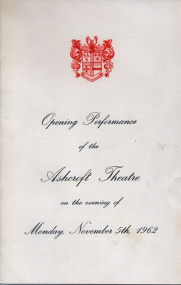 PROGRAMME OPENING NIGHT ASHCROFT THEATRE ROYAL GAMBIT MICHAEL DENISON DULCIE GREY; NOV 1962; 196211BY