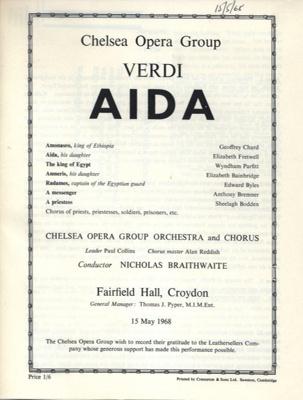 PROGRAMME OPERA CHELSEA OPERA GROUP VERDI AIDA; MAY 1968; 196805BE