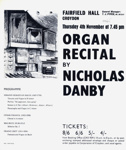 FLYER CLASSICAL ORGAN RECITAL NICHOLAS DANBY; NOV 1965; 196511BC