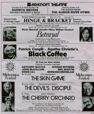 FAIRFIELD DIARY CONTENTS PAGE JUNE 1981  BRYAN MARSHALL JENNIFER HILARY PATRICK CARGILL ANTONY QUAYLE GOOGIE WITHERS BERNARD BRESSLAW; JUNE 1981; 198106FA