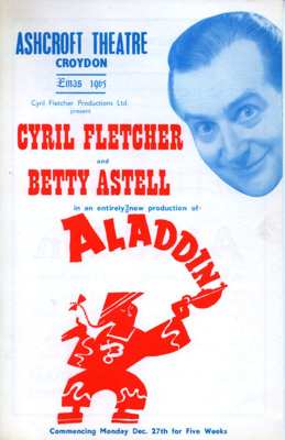 FLYER PANTO ALADIN CYRIL FLETCHER BETTY ASTELL; DEC 1965; 196512BG