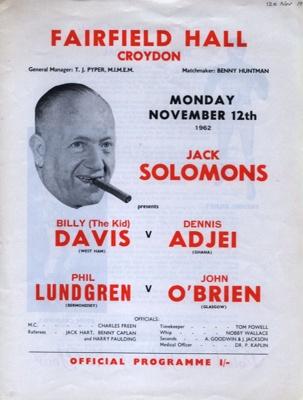 PROGRAMME BOXING JACK SOLOMANS; NOV 1962; 196211CR