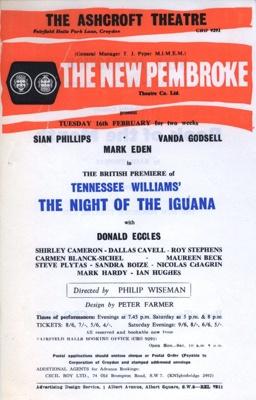 FLYER ASHCROFT TENNASSEE WILLIAMS NIGHT OF THE IGUANA SIAN PHILLIPS; FEB 1965; 196502BE