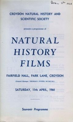 PROGRAMME NATURAL HISTORY FILMS; APR 1964; 196404BK