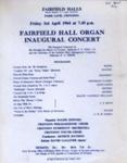 FLYER RALF DOWNS INAUGURAL ORGAN CONCERT; APR 1964; 196404BE