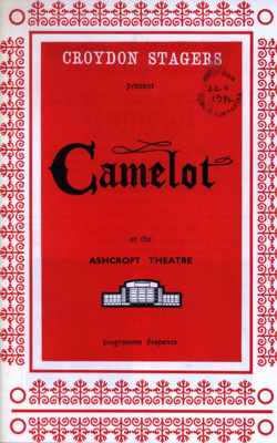 PROGRAMME CROYDON STAGERS CAMELOT; MAY 1972; 197205BE