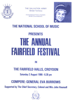 PROGRAMME NATIONAL SCHOOL OF MUSIC FAIRFIELD FESTIVAL; AUG 1986; 198608FA