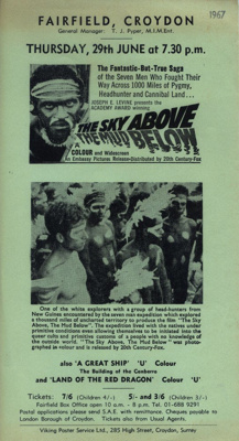 FLYER FILM THE SKY ABOVE THE MUD BELOW; JUN 1967; 196706BO
