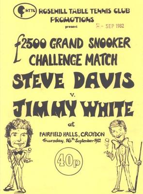 PROGRAMME SNOOKER GRAND CHALLENGE MATCH STEVE DAVIS JIMMY WHITE; SEP 1982; 198209FC
