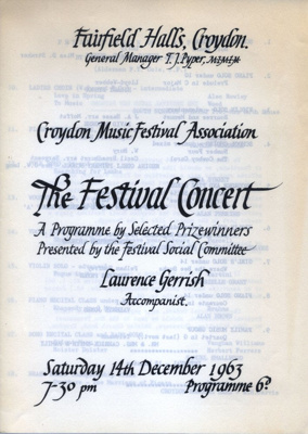 PROGRAMME CROYDON MUSIC FESTIVAL ASSOCIATION; DEC 1963; 196312BO
