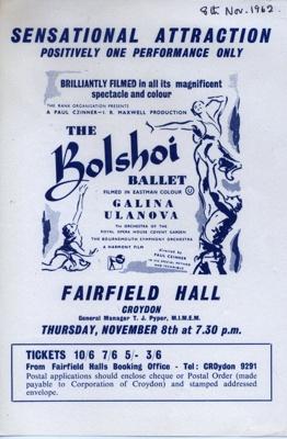 FLYER BALLET BOLSHOI FIRST FILM  AT FAIRFIELD; NOV 1962; 196211CJ