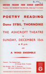 FLYER POETRY READING DAME SYBIL THORNEDIKE; DEC 1963; 196312BQ