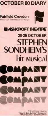 DIARY COVER MUSICAL THEATRE STEPHEN SONDHEIM; OCT 1980; 198010FI